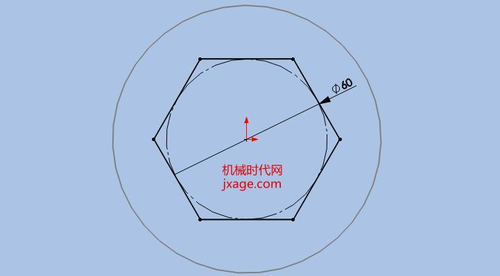 在SolidWorks中,边界和放样的功能很相似。那么这两个功能有什么区别呢?现在我们就以下面两个例子比较二者的区别。先说边界命令。 方法: 1.新建一个文件。 2.在TOP平面绘制如下的草绘。  3.新建一个基准平面。  4.在新的基准面创建一个六边形。  5.点击【边界凸台/基体】,选择两个草绘作为边界曲线。  移动接头到合适的位置。  从上图我们可以看到:从上到下六边形越来越趋近于圆。 增大网格密度,将网格密度移动为6,我们可以看见六边形和圆之间的截面增加到5个。  依次选择两个草绘,将其设置为垂直