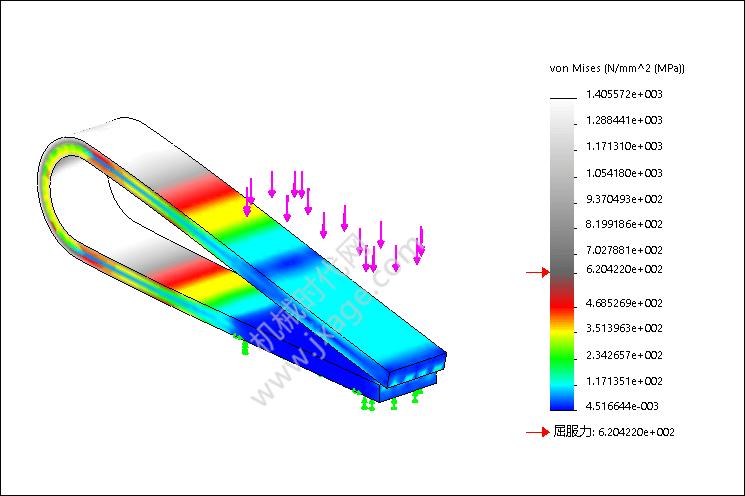 SolidWorks Simulation 有限元分析实例练习(19):大位移分析