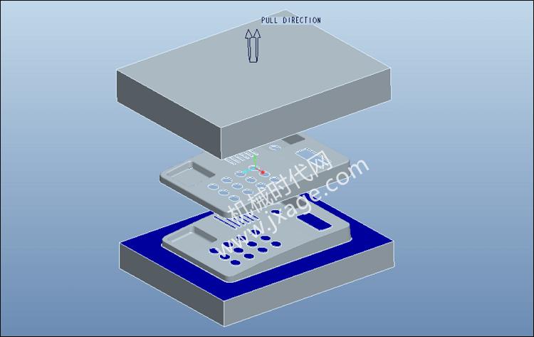 Proe拆模设计实例练习(4):含靠破孔的拆模