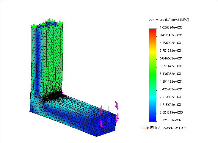 SolidWorks Simulation 有限元分析实例练习(24):simulation计算结果与ABAQUS和ANSYS Workbench对比